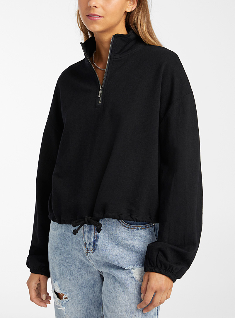 Twik Black Half-zip cord-waist sweatshirt for women