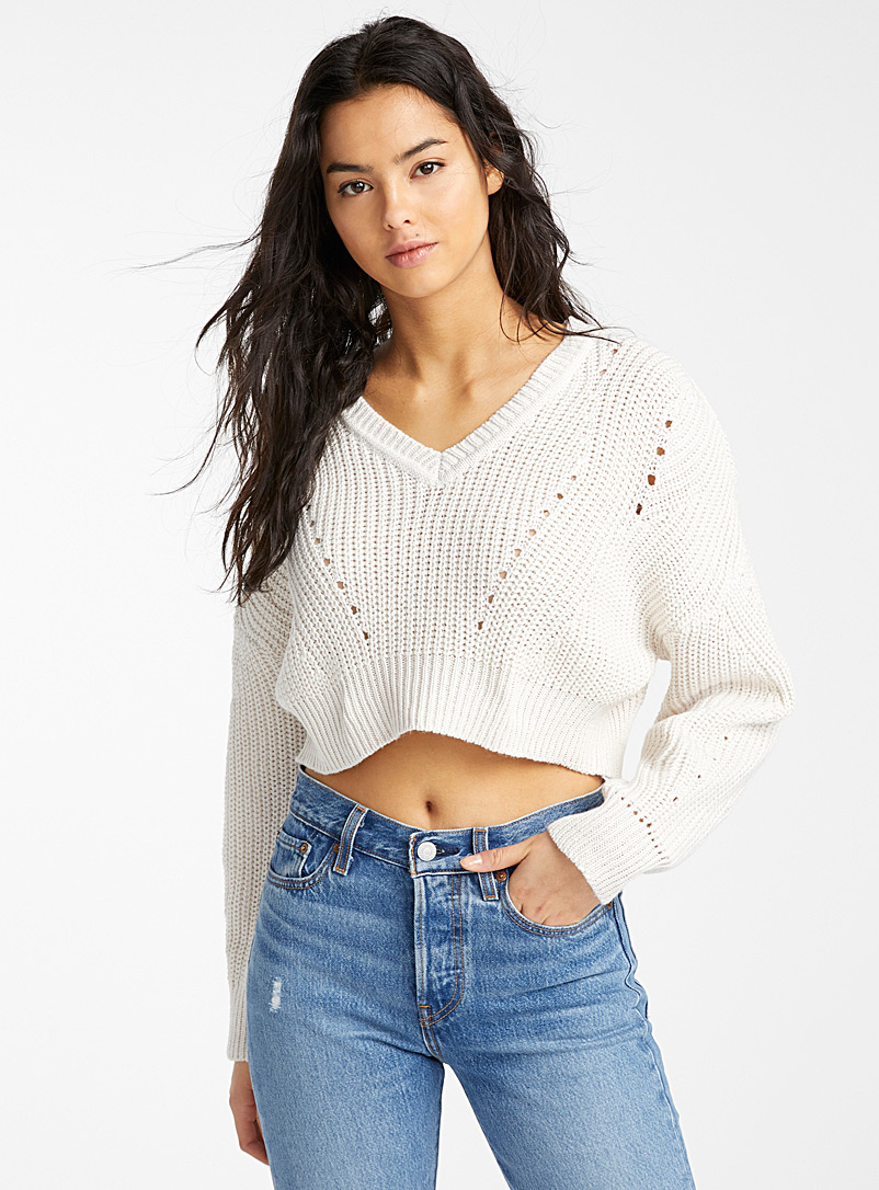 Twik Baby Blue Ultra cropped ribbed sweater for women