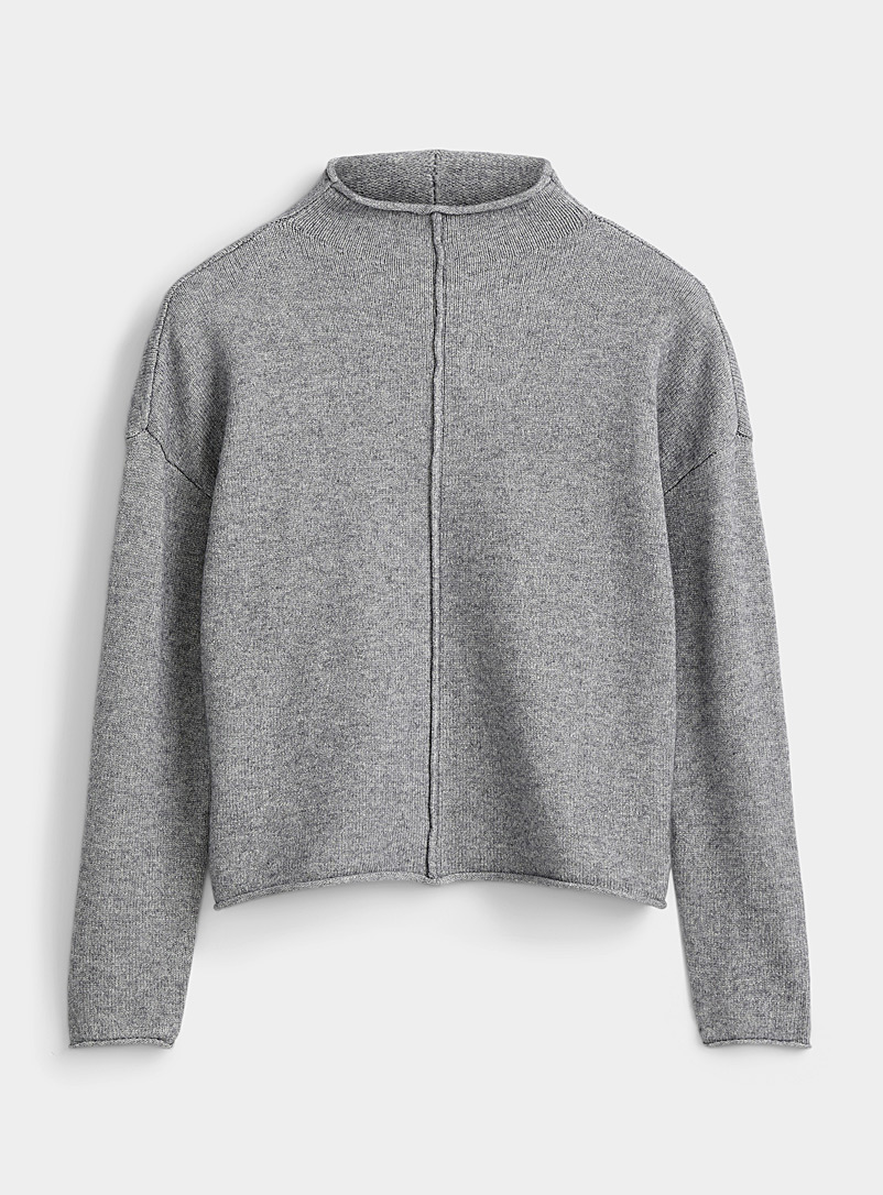 Twik Grey Front-seam mock-neck sweater for women