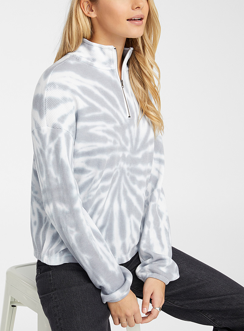 Twik Grey Tie-dye half-zip T-shirt for women