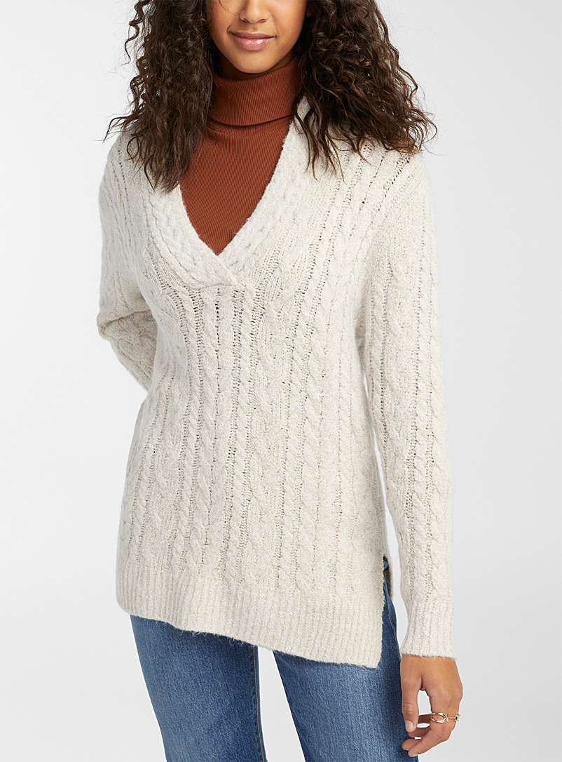 Twik Light Grey Long cable-knit V-neck sweater for women