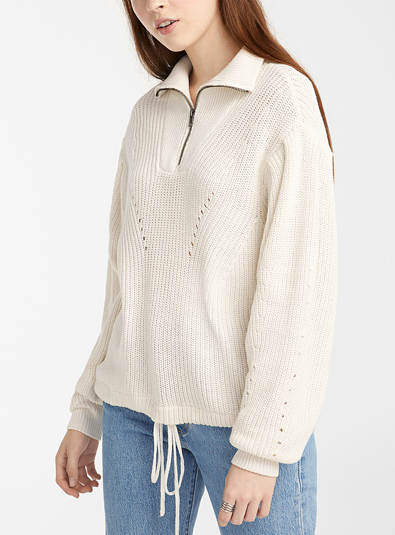 Twik Ivory White Recycled polyester ribbed half-zip mock neck for women