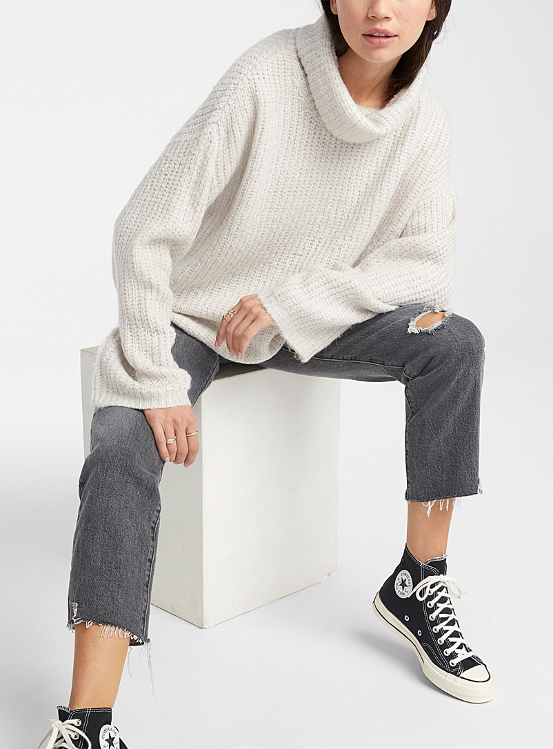 Twik Light Grey Ultra loose ribbed cowl neck for women