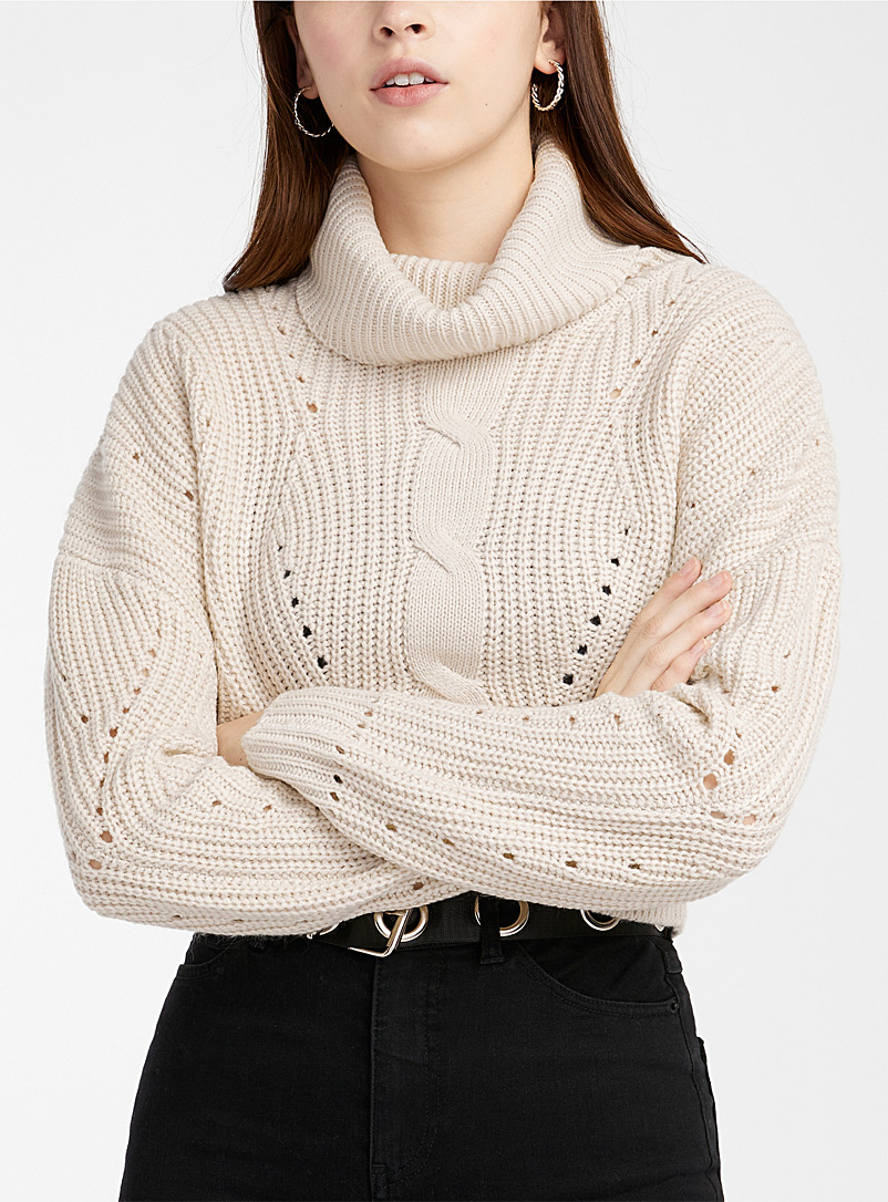 Twik Cream Beige Ultra cropped openwork turtleneck for women