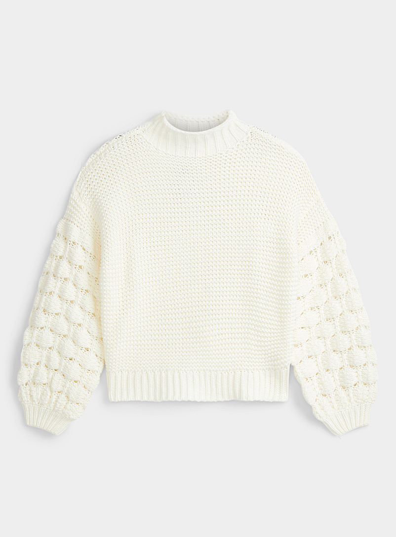 Twik White Pompom sleeve mock-neck sweater for women