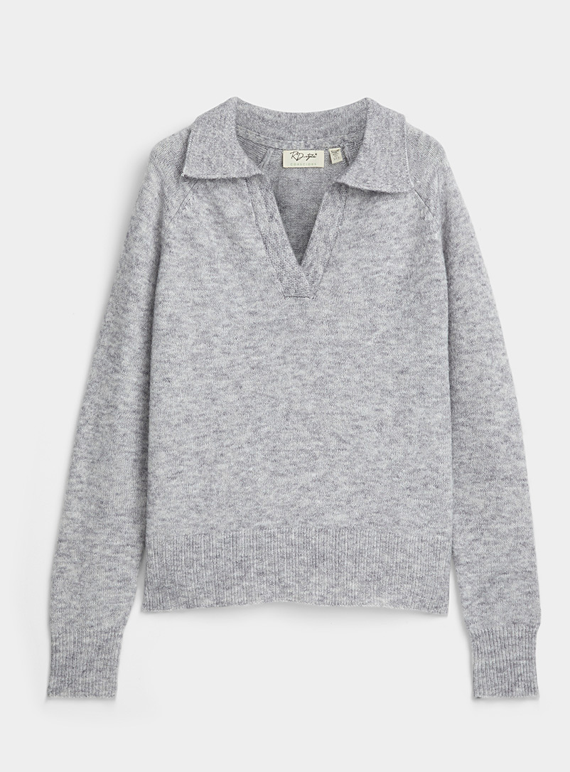 Twik Grey Loose Johnny-collar sweater for women