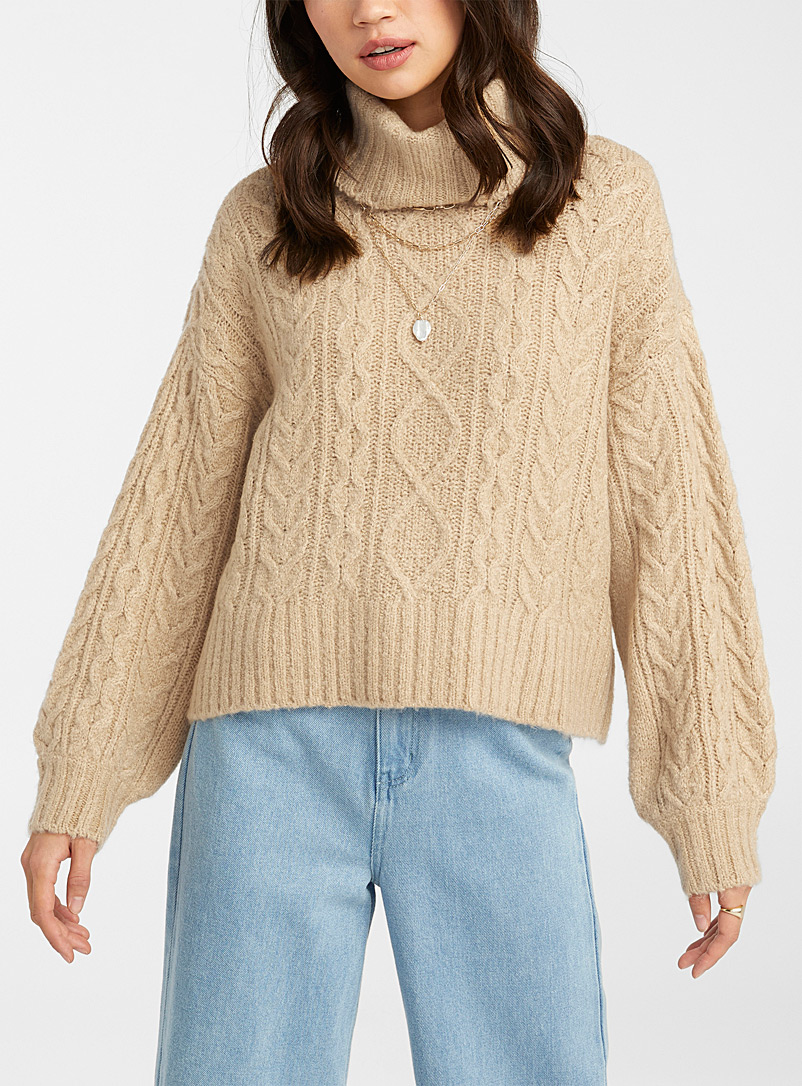 Twik Dusky Pink Loose cable knit turtleneck for women