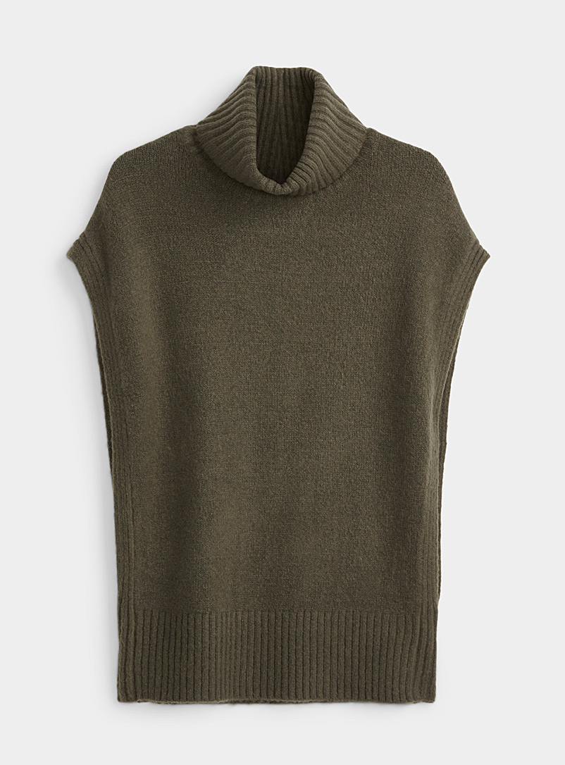 Twik Mossy Green Sleeveless turtleneck sweater for women