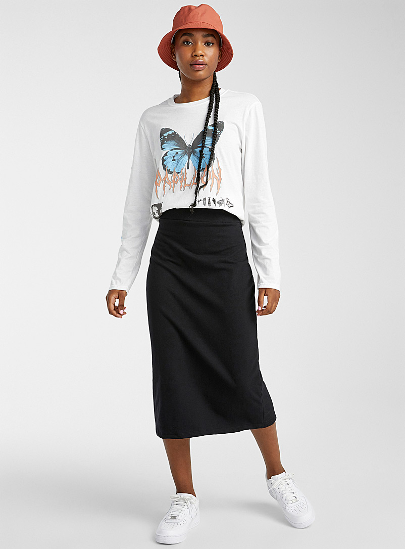 Twik Black Cotton fleece midi skirt for women
