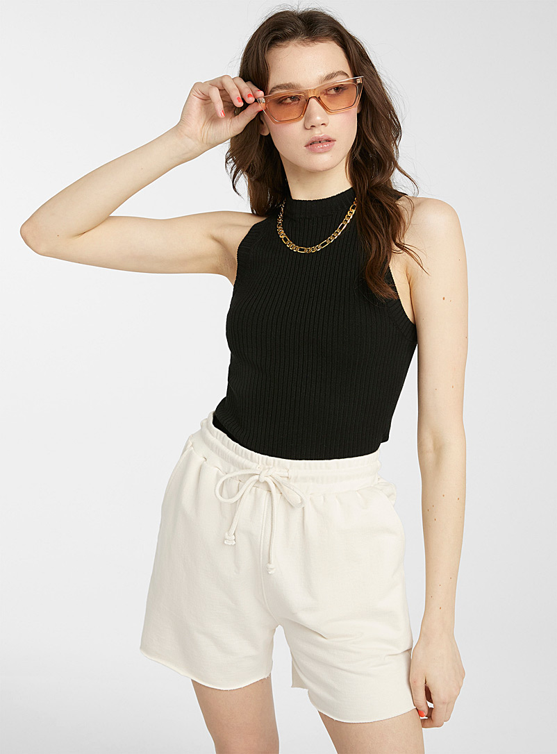 Twik Ivory White Cutout terry-lined jersey short for women