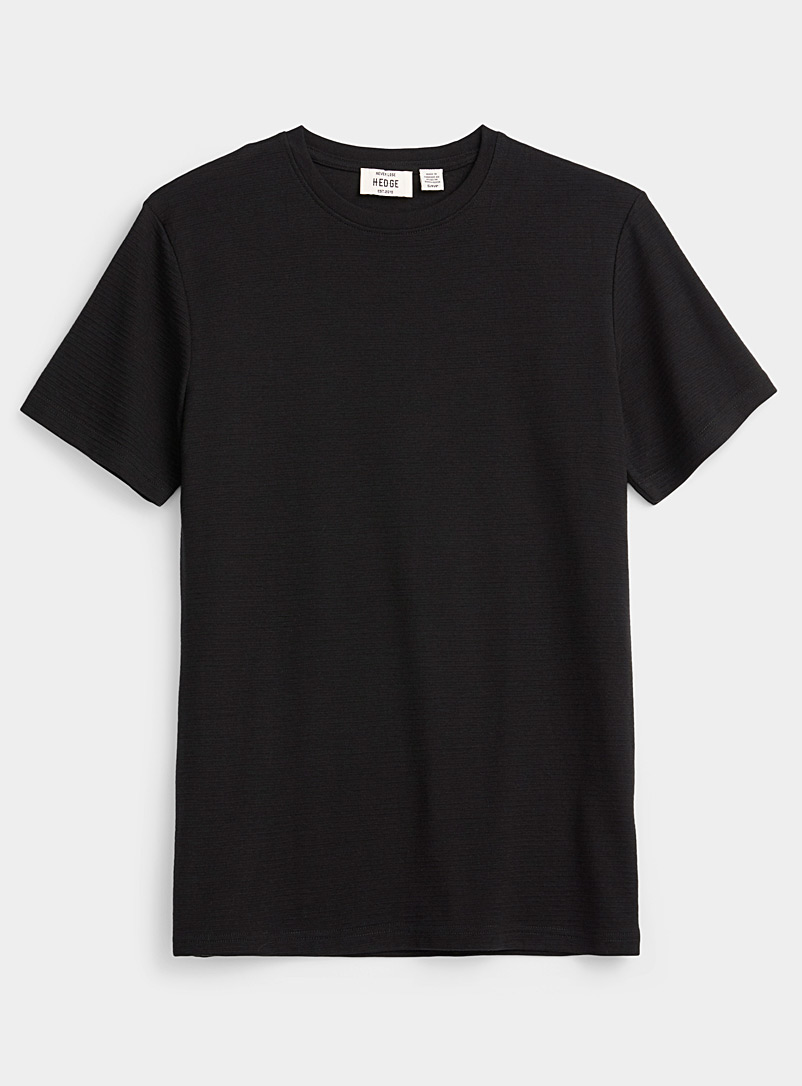 Le 31 Black Textured stripe T-shirt for men