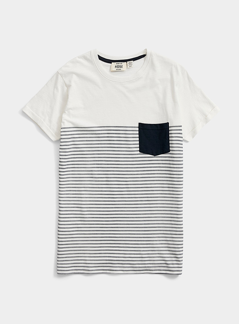 Le 31 White Block stripe pocket T-shirt for men
