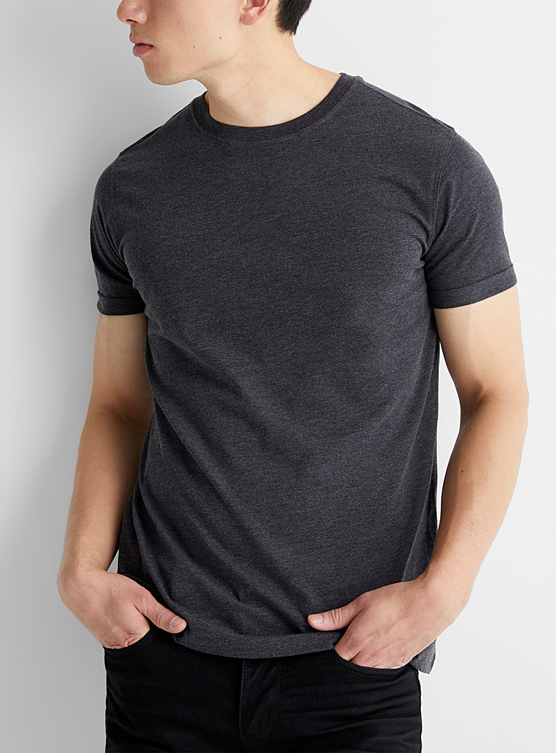 Le 31 Black Cuffed short-sleeve T-shirt for men