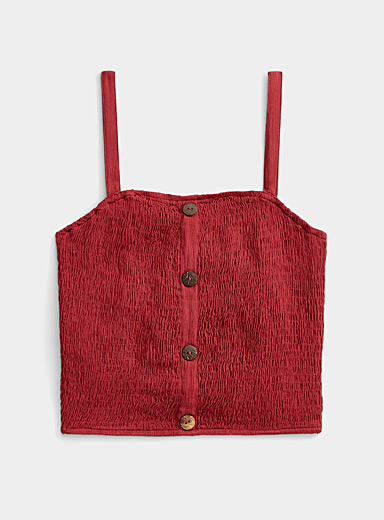 Twik Ruby Red Natural button smocked cami for women