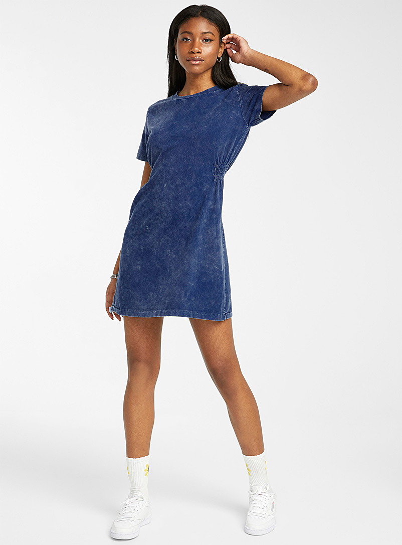 Twik Dark Blue Side-ruching faded T-shirt dress for women