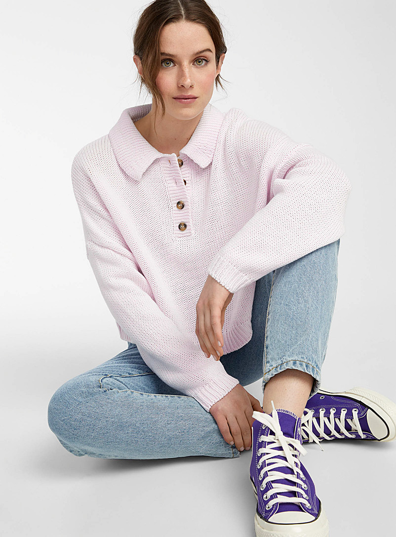Twik Lilacs Ultra-loose polo sweater for women