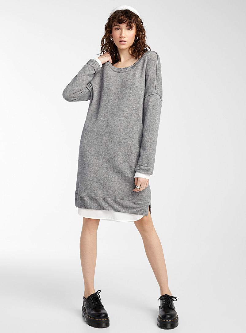 Twik Grey Contrast trim dress for women