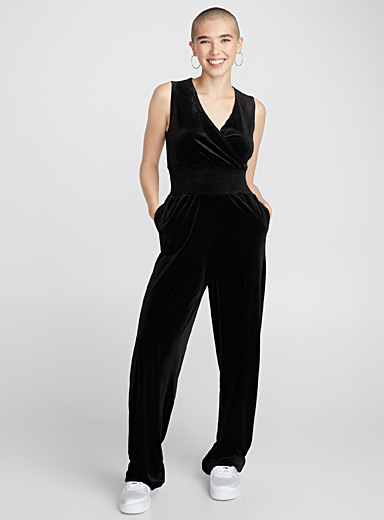 Velvet empire-waist jumpsuit