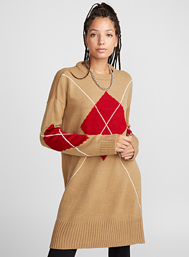 Mega-argyle knit dress