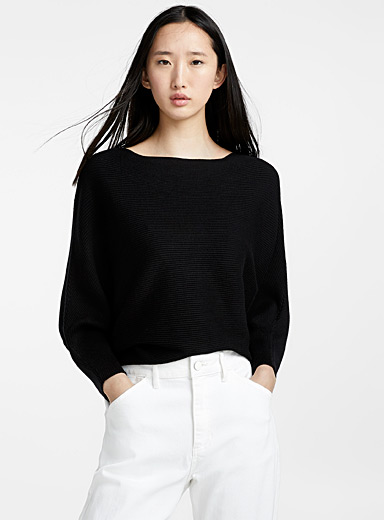 Cropped boat-neck sweater