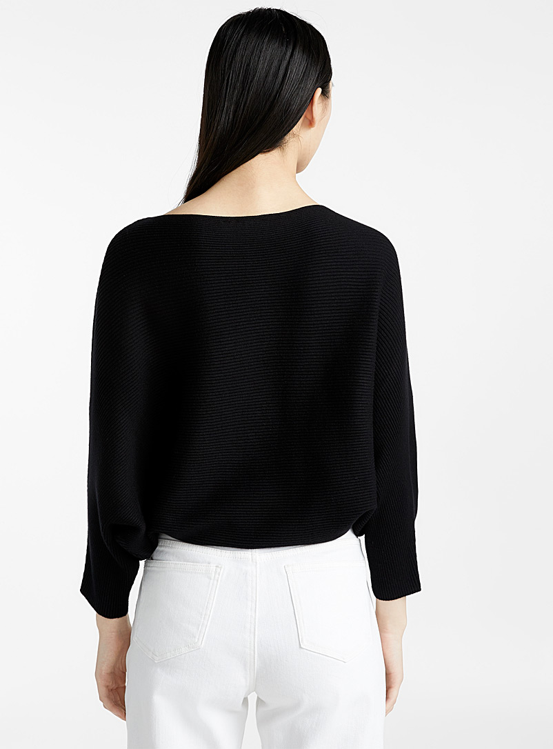 Icône White Cropped boat-neck sweater for women