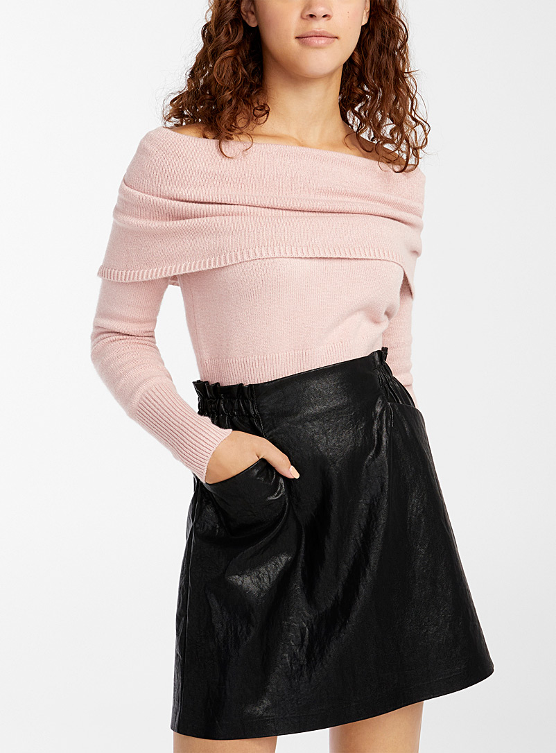 Twik Dusky Pink Cropped Marylin-collar sweater for women