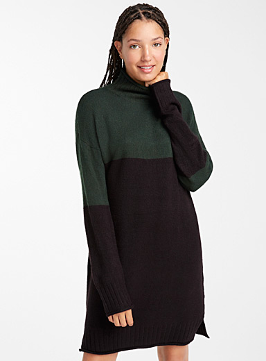 Two-tone high neck dress