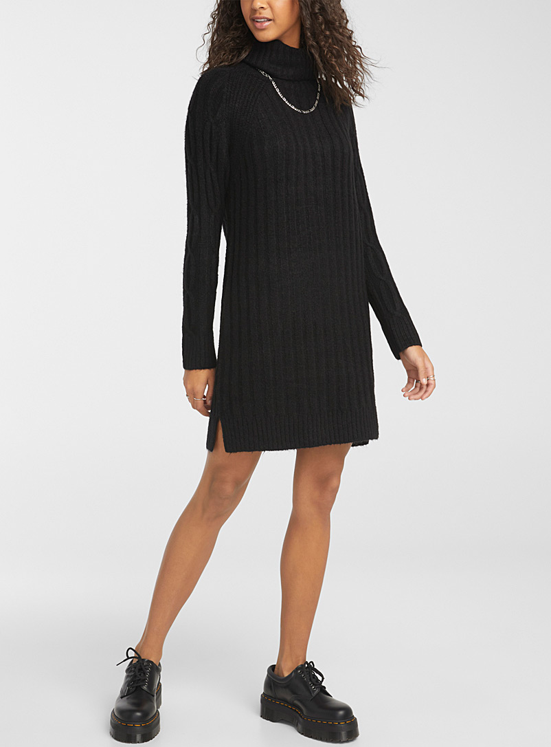 Ribbed cable-knit turtleneck dress