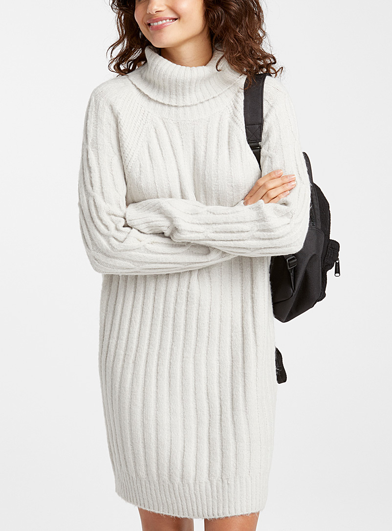 Twik Grey Ribbed cable-knit turtleneck dress for women
