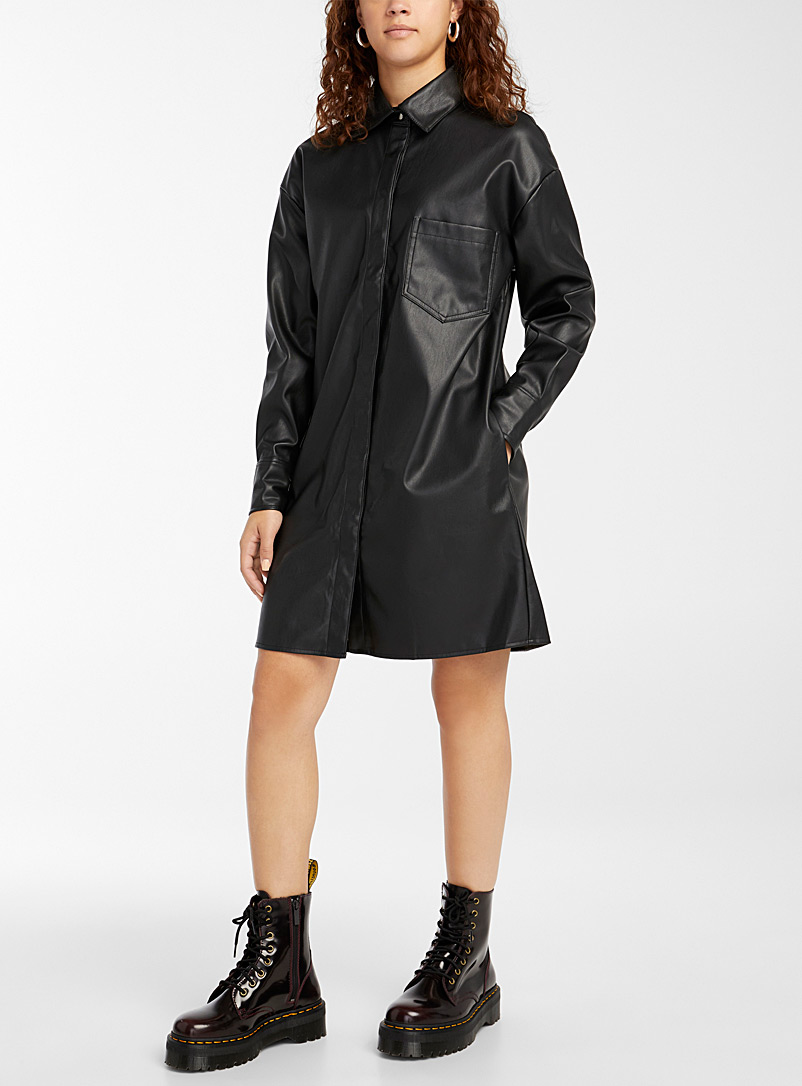 Twik Black Faux-leather shirtdress for women