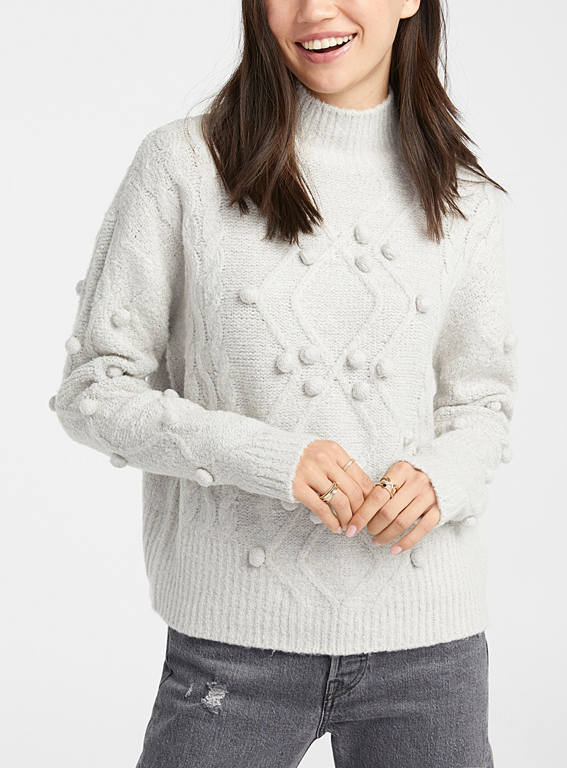 Twik Light Grey Pompom and cable mock neck for women