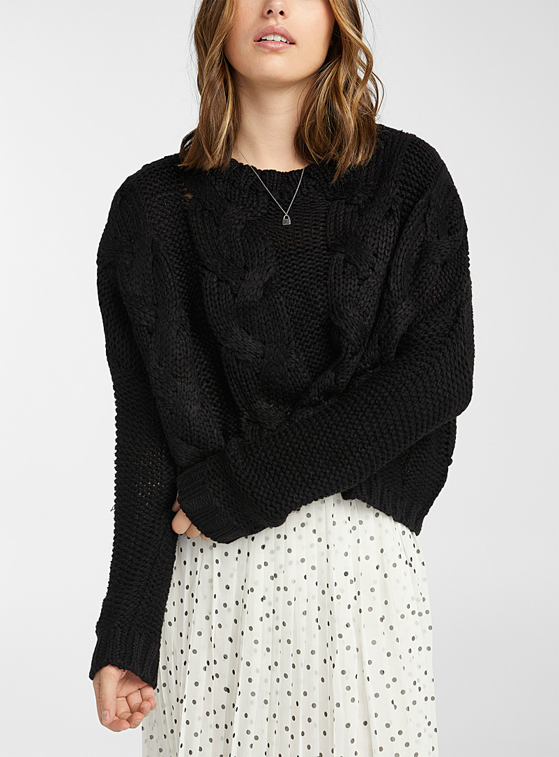 Twik Black Ultra cropped cable-knit sweater for women