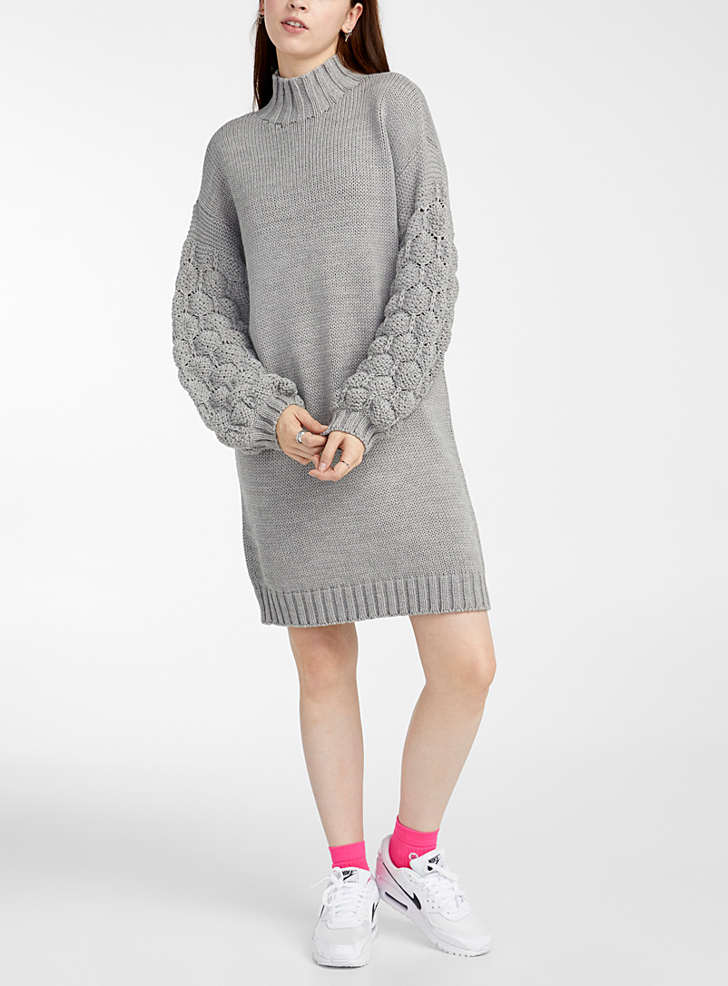 Twik Grey Basketweave knit-sleeve mock-neck dress for women