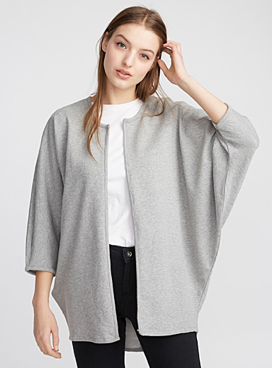 Heather jersey open cardigan