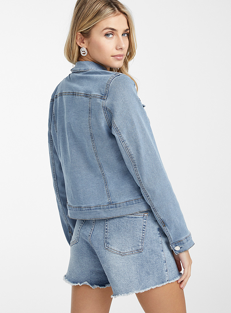 Vero Moda Slate Blue Ultra stretch jean jacket for women