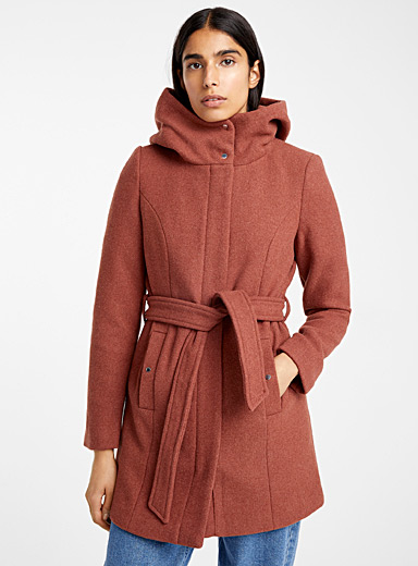 High-neck belted coat