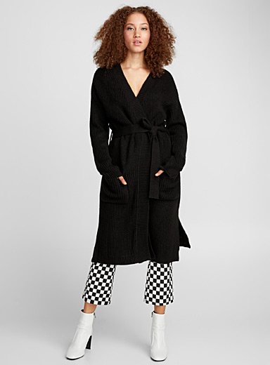 Belted ribbed long cardigan