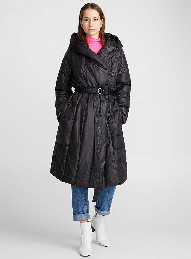Strap belt lightweight puffer jacket - Quilted and Down Jackets - Black