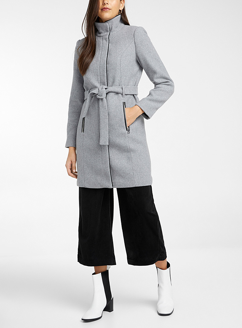 Vero Moda Light Grey Faux-leather trim belted coat for women