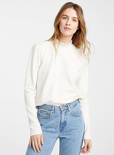 Gathered pleated-neck sweatshirt