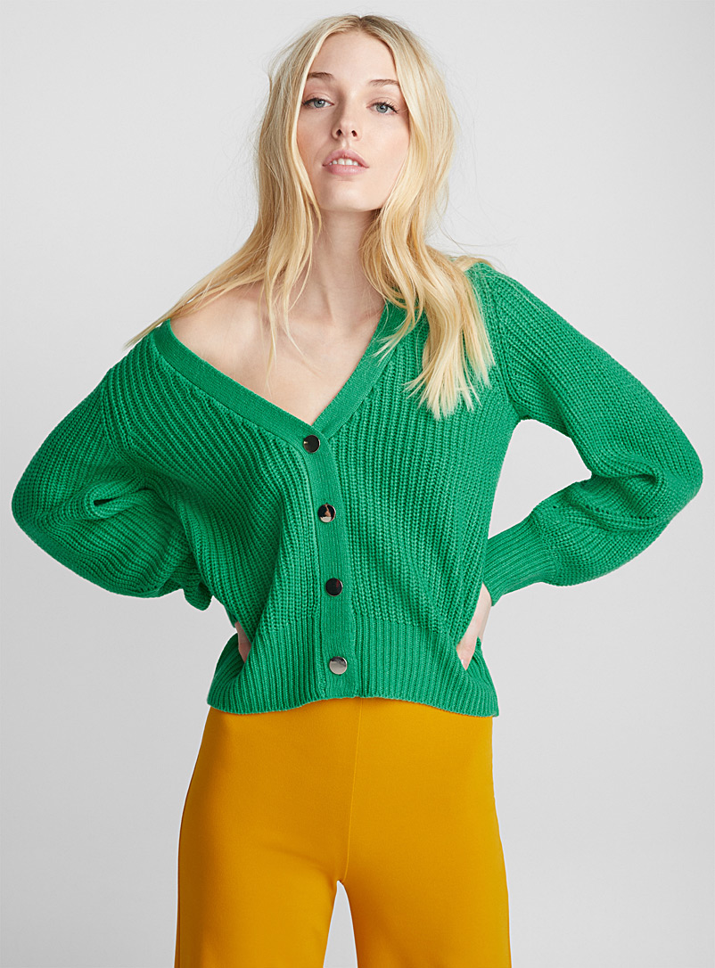 Mirror button ribbed cardigan - Cardigans - Lime Green