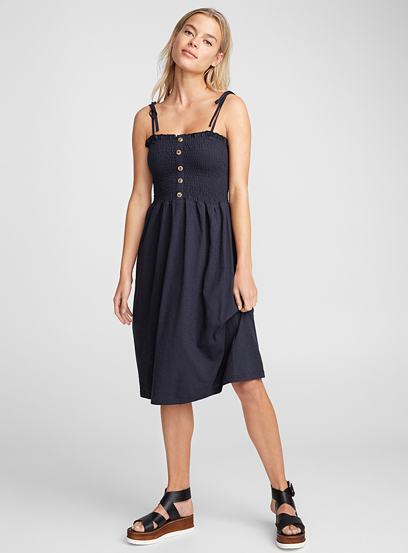 Honeycomb bodice dress - Fit & Flare - Marine Blue