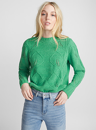 Traced leaf pointelle sweater