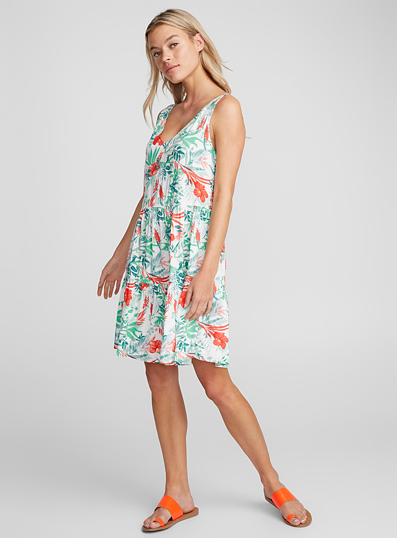 Tropical garden dress - Fit & Flare - Patterned White