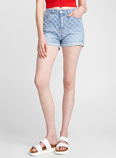 Frayed honeycomb denim short
