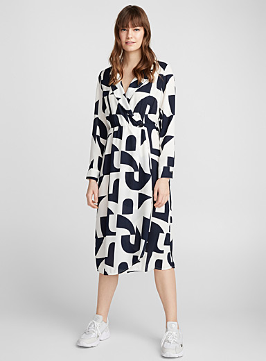 Abstract geo wrap dress