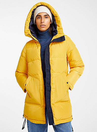 Mustard yellow down puffer jacket
