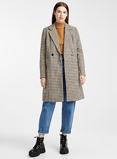 Mini check double-breasted coat