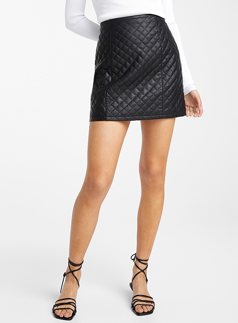 Quilted faux-leather miniskirt - Short - Black