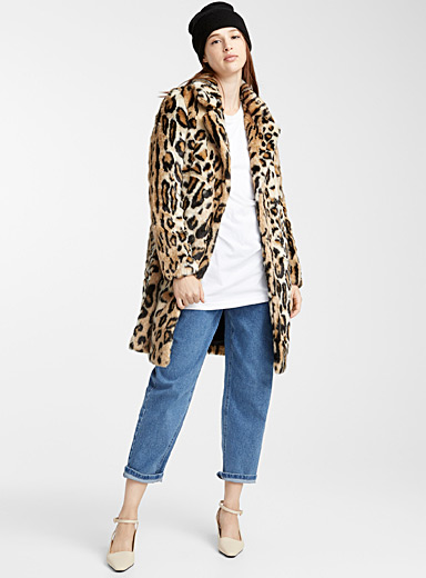Faux-fur animal print coat